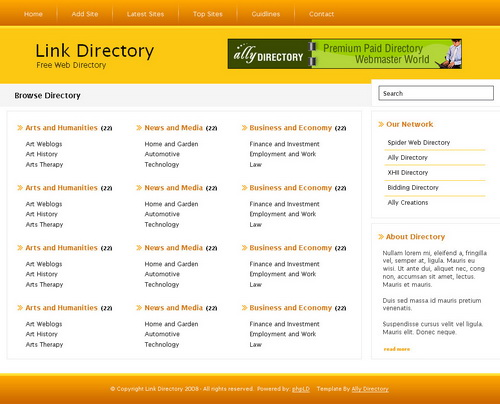 Orange Tango PHPLinkDirectory Template