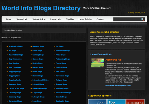 BlackPearl PHPLinkDirectory Template
